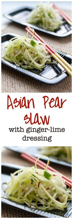 Paleo Asian Pear Slaw with Ginger and Lime. A refreshing slaw made with Asian pears (apple pears), celery, and fennel and lightly dressed with a ginger-lime vinaigrette. This is a perfect accompaniment to Thai or Asian dishes.