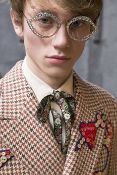 Backstage at the Gucci Men's Fall Winter 2016 Fashion Show.