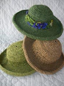 Paper Raffia Wide-brim Hat - a 'ME Nolfi Design' Pattern :: Crochet Asylum - Crochet Shoppe by Mercedes Dillet This is a hatfr Kaylas closet - Hats crocheted with paper raffia! I really like these hats crocheted with paper rafia. Pattern for sale at the C Crochet Adult Hat, Crochet Beanie, Knit Or Crochet, Crochet Scarves, Crochet Crafts, Yarn Crafts, Crochet Clothes, Knitted Hats, Crochet Brimmed Hat