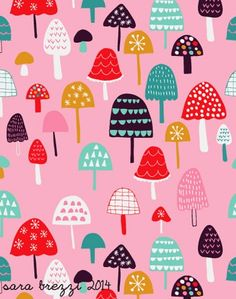 cheerful mushrooms - Spoonflower Add a pop of pattern with unique fabric, wallpaper & gift wrap. Shop over designs Design Textile, Design Floral, Textile Patterns, Fabric Design, Print Patterns, Boho Pattern, Cute Pattern, Scandinavian Pattern, Mushroom Art