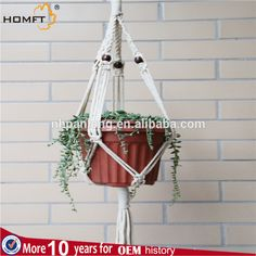 nature color cotton rope decor home gift handmade craft green plant hanging pot