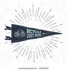 "Hand drawn adventure pennant flag vector illustration and ""Bicycle. Just ride"" inspirational lettering."