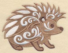 Hedgehog with Flourish Embroidered Cotton Kitchen by remimartin