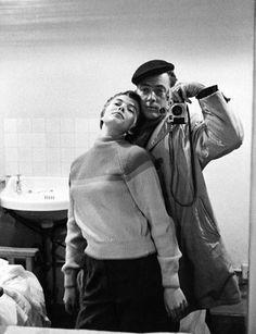 Photographer Bob Willoughby. Self portrait with Jean Seberg.