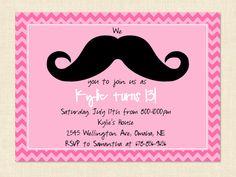 Teen Girl Invitation Birthday Mustache Pink by BusyChickadees, $10.00