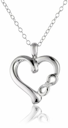 """Amazon.com: Sterling Silver Diamond """"Infinite Love"""" Symbolic Heart with Infinity Sign Pendant Necklace - $58, free shipping"""