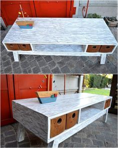 It is an impressive table and the white colored paint used for it is making it look unique, the table contains the drawers for storage. It is a big table made up of repurposed wooden pallet that can be placed in the TV launch as it contains the space for placing the DVD player.
