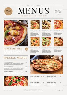 Buy SImple Food Menus by guper on GraphicRiver. A Simple Food Menus come with 3 optional designs Features ( CMYK 300 DPi Print ready Well organized l. Ppt Design, Pizza Menu Design, Cafe Menu Design, Food Menu Design, Design Ideas, Restaurant Design, Restaurant Recipes, Restaurant Identity, Restaurant Restaurant