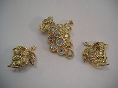 Vintage Gold Rhinestone Brooch Pin & Gold Leaf Earrings Costume Jewelry by SeaPillowTreasures on Etsy