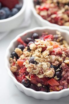 This Instant Pot Berry Crisp is the perfect end of summer healthy dessert.  Gluten free, dairy free, and refined sugar free, you can even eat this Mixed Berry Crisp for breakfast and feel totally ok about it!  Want a blueberry crisp?  Just use all blueberries! No Instant Pot?  This Vegan Berry Crumble can be made in the oven, too!  It's super versatile and super delicious.