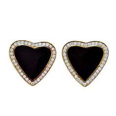 Black Onyx and Diamond Heart Earrings | From a unique collection of vintage clip-on earrings at http://www.1stdibs.com/jewelry/earrings/clip-on-earrings/