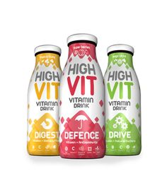 High Vit supplement beverage package design. I love the use of icons and layering the transparent shapes on these!