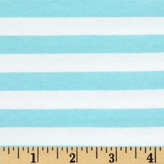 """Riley Blake Cotton Jersey Knit 1/2"""" Stripes Aqua from @fabricdotcom  From Riley Blake Fabrics, this lightweight stretch cotton jersey knit fabric features a smooth hand and four way stretch for added comfort and ease. With 50% stretch across the grain and 25% vertical stretch, it is perfect for making t-shirts, leggings, loungewear, yoga pants and more! It features printed horizontal stripes."""