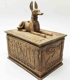 "Ancient Egyptian Decor Sandstone Finish God Anubis Dog Jewelry Box Figurine 4""L"