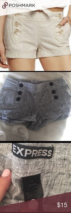 Express Double Button Shorts Super cute! All of mine are 4s but they are too big. Love them so much I went through and bought 2s from posh. Favorite express shorts, flattering for the booty and waist. Express Shorts
