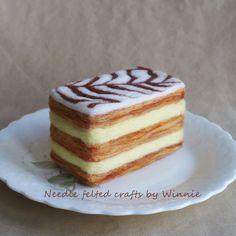 Napoleon pastry handmade needle felted dessert OOAK