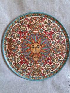 """Посуда ручной работы. Ярмарка Мастеров - ручная работа Тарелка декоративная""""Солнце и луна"""". Handmade."""