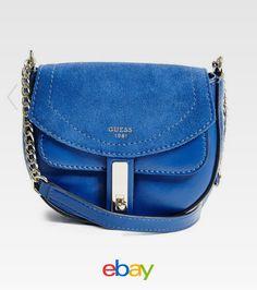 c72e80f41394 NWT Guess Kingsley Mixed Saddle Crossbody purse Handbag Cobalt Blue