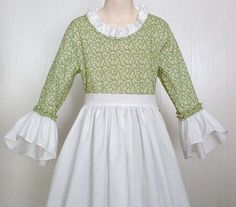 Girls Colonial Pioneer Dress  Modest Clothing Colonial  Dress Costume  Green Size 8  Ready to Ship