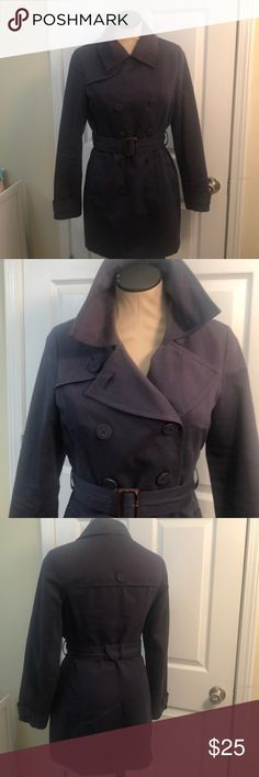 Classic , navy trench coat Timeless trench coat - essential for any chic closet; a belt completes the look with a waist-defining cinch. Merona Jackets & Coats Trench Coats