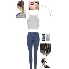 Untitled #56 by EmmaRuus on Polyvore featuring Topshop, Carvela Kurt Geiger, Yves Saint Laurent, With Love From CA and Maybelline