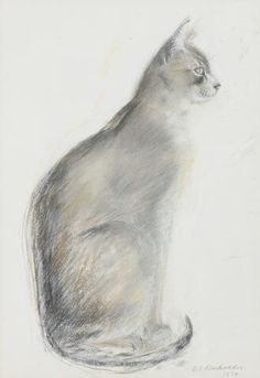 Dame Elizabeth Blackadder (British, b. 1931) - Cat, 1974 - Mixed media on paper
