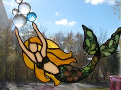 Flowered Mermaid with Bubbles Suncatcher by StainedGlassByBev