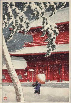 KAWASE Hasui(川瀬 巴水 Japanese,1883-1957, Zojoji Temple, Shiba 芝増上寺, woodblock, 1926.