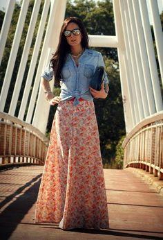 Camisa jeans Jean Shirts, Maxi Skirts, Maxi Skirt Outfits, Maxis, Modest Outfits, Modest Dresses, Modest Fashion, Stylish Outfits, Love Fashion