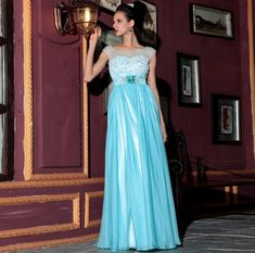 free shipping 2016 new arrival hot sale blue gauze sexy high winter women long design evening prom real chiffon graduation dress