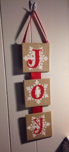 Joy burlap wall hanging - hand painted burlap - christmas decor