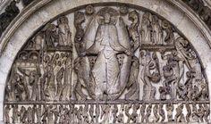 Gislebertus, The Last Judgement, west portal tympanum of cathedral of Saint-Lazare, Autun, Burgundy, France, c. 1120-1130, marble