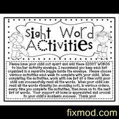 Sight Word Kindergarten Homework Activities Envelope