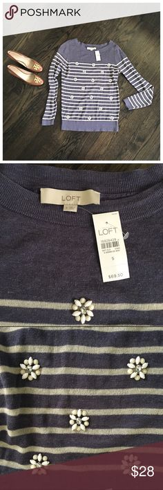 LOFT Embellished Jeweled Striped Thin Sweater Brand new! Striped semi-sheer sweater by LOFT. Has pretty jeweled clusters on the front. 74% linen/26% rayon. Deep blue and beige. Cute with jeans or shorts for a casual weekend look or a pencil skirt for work. Size small. LOFT Sweaters Crew & Scoop Necks