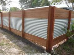 Image result for corrugated steel and wood fence