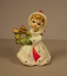 vintage christmas figurine | Vintage Napco Christmas Girl Ceramic Figurine W Wreath Japan | eBay