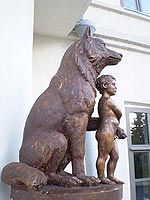 Mowgli and wolf    ---   statue is placed in Kazan - capital of Tatarian republic that is part of Russian federation