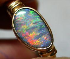 SHIMMER FLASH MINTIBY OPAL 14K GOLD RING SIZE 12.5 SCA1434 opal jewellery australian opal