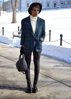 Vintage Fisherman's Sweater, Vintage Pendleton Blazer, Tobi Wax Skinny Jeans
