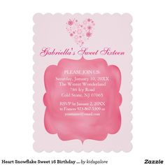 Heart Snowflake Sweet 16 Birthday Invitation