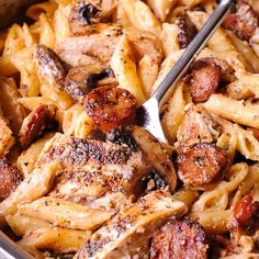 Creamy Cajun Chicken and Sausage Pasta – What's In The Pan? Creamy Cajun Chicken and Sausage Pasta – What's In The Pan? Cajun Chicken Salad, Chicken Sausage Pasta, Chicken Pasta Dishes, Italian Chicken Pasta, Creamy Chicken Pasta, Chicken Parmesan Recipes, Chicken Breast Recipes Healthy, Parmesan Sauce, Cajun Chicken And Rice