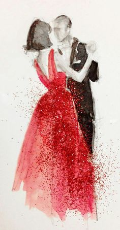 Katie Rodgers - Dancing Couple - Lady in Red Gown - Fashion Illustration Couple Painting, Painting Art, Illustration Mode, Couple Illustration, Watercolor Illustration, Paper Fashion, Fashion Sketches, Fashion Illustrations, Drawing Fashion