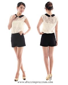 Gold Sparkle Floral Lace Top   from: Drezz Imprezzion  S$24