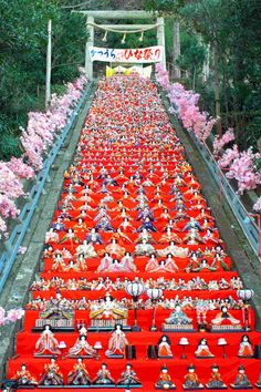 Hinamatsuri at Tomisaki Shrine in Katsura, Chiba, Japan.  On March 3rd, families with girls celebrate and wish girls' health and growth by displaying hina dolls.  en.wikipedia.org/...