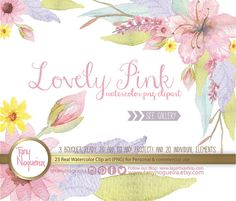 Lovely Pink Watercolor Floral Wedding Elements Clipart, PNG, Vintage, Frames,  spring, Rustic, arrangement, posies, bouquet, for invitations