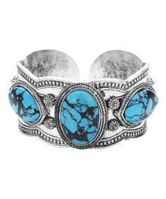 Turquoise & Silvertone Embellished Cuff Bracelet by Zulily