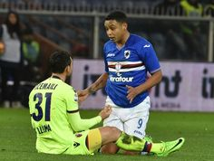 Luis Muriel of Sampdoria and Blerim Dzemaili of Bologna during the Serie A match between UC Sampdoria andv Bologna FC at Stadio Luigi Ferraris on February 12, 2017 in Genoa, Italy.