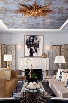 wallpapered ceilings kathy kuo home