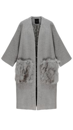 Shawl collar and open-style coat in Grey. This throw-on coat comes in a cosy silhouette, detailed with an oversized collarless and detachable enlarged patch fox fur pockets at hips. Look Fashion, Winter Fashion, Fashion Outfits, Fashion Design, Fashion Trends, Fashion Bloggers, Alpaca Coat, By Any Means Necessary, Fox Fur Coat