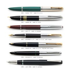 Hooded nibs on European pens from 1941 - 1966.